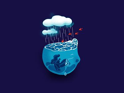 Sensitising   Emotion   Memory   Sadness water clouds tear immersed dream memory sadness emotion sensitive mental health mental design illustration
