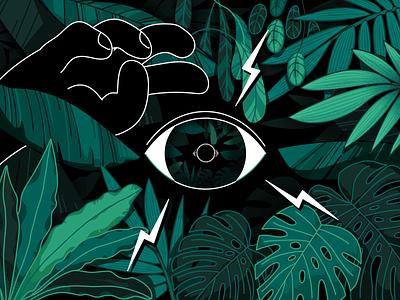 Jungle eye adventure hidden danger secret amazon rainforest tropical forest woods loop reflection hand observe eye plants leaves jungle illustration