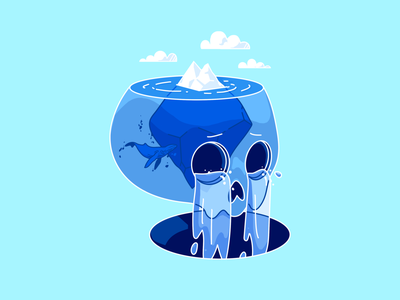 Crying for unknowns crying whale ocean iceberg skull unknown communication design illustration