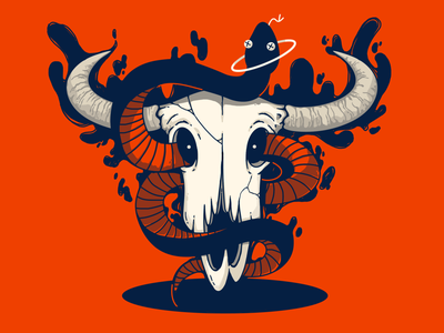 Happy new year of ox! evil bull cow zodiac hole magic skeleton skull ghost chinese new year snake ox design illustration