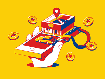 Project illustration - SXXXL illustration hand pin coin mobile payment payments loyalty nozzel fuelling gas station petrol map navigation mobile app service location application design mobile ui