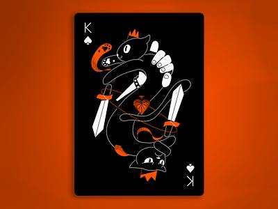 King Spades cute grumpy dark grumpy cat poker cards game poker spades king cats black hands design illustration