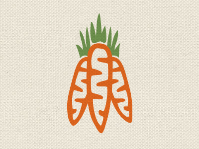 Crunchy goodness food nutrition branding education carrot icon carrots nonprofit