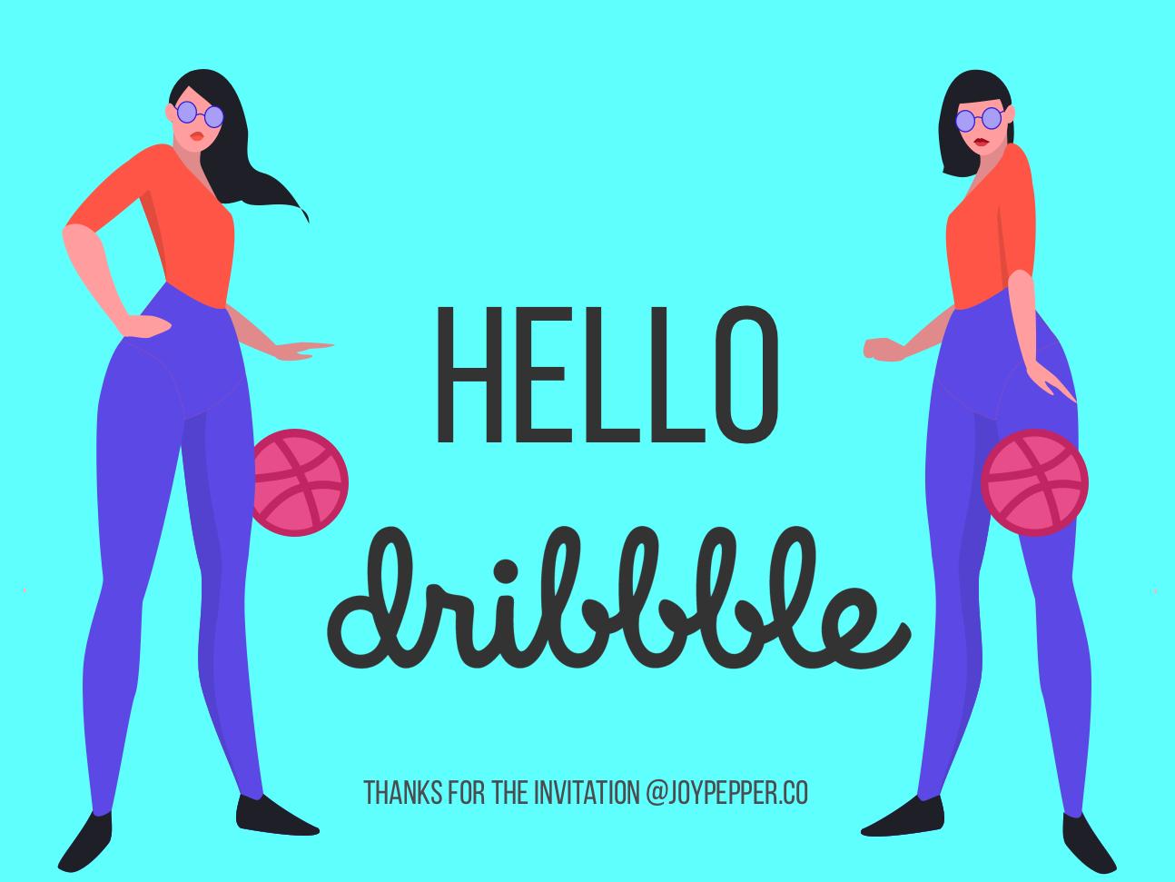 Hello Dribbble vector illustration