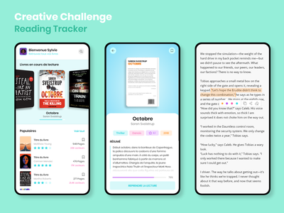 Reading App Tracker colorful novels uiux read book cover adobexd xddailychallenge books reading app tracker mobile app ux app ui design