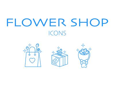 Flower shop icons flowers shop icon ux branding ui design vector illustration art
