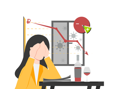 Woman And Wine проблемы статистика вино женщина woman illustration ruble coronavirus problems money branding dribbble design drawing vector illustration art