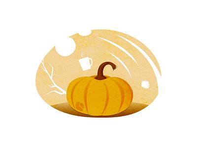 Beautiful Autumn Pumpkin For The Holidays orange beautiful design fall branch leaf tea cute pumpkin autumn dribbble fantasy design drawing vector illustration art