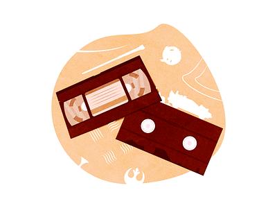 Old videotapes in vintage style back to the future harry potter star wars videotape vhs videocassette film equipment cassette brown 90s noise vintage retro design drawing vector illustration art