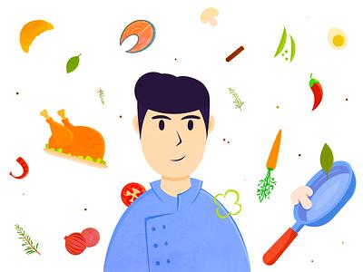 Chef Food Illustration texture kitchen cartoon flat blog profession man character chiken chef branding design drawing vector illustration art