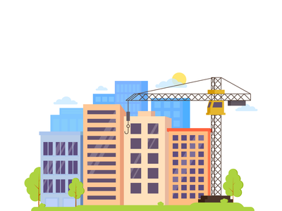 Building. Residential complex apartment flat 2d architecture town city illustrator building site branding design drawing vector illustration art