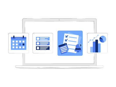 Laptop with icons app icon ux ui branding design drawing vector illustration art