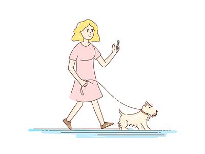 Girl and dog line cute petshop pet design mobile app veterinary walk girl dog dribbble branding vector illustration art