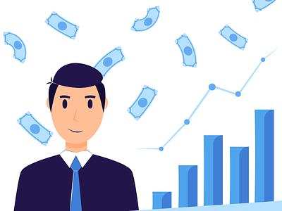 Investments illustrator drawing app flat man money dribbble branding design vector illustration art