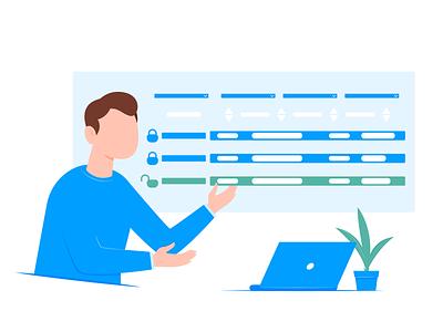 Illustration for the article #2 app security laptop plant man flat dribbble illustrator design vector illustration art article