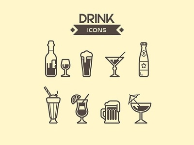 Drink icons drinks bottle iconset mojito branding ui cup glass wine soda cocktail beer icons drink vector illustration art
