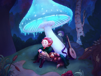 Paths Unwritten mushrooms magical kidlitartist kidlitart fantasy