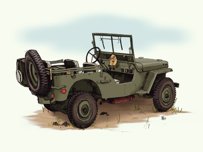 Willys Jeep military vehicle pencil digital painting photoshop digital art vehicles military jeep willys jeep