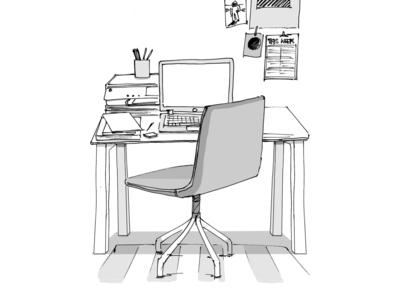 Office desk sketch