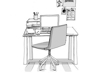 Office desk sketch furniture sketch laptop chair desk furniture drawing photoshop ink pen scamp sketch
