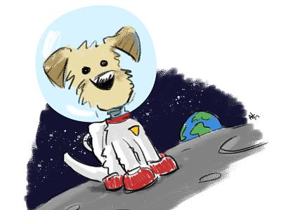 Pup In Space puppy dog character design digital illustration photoshop sketch illustration