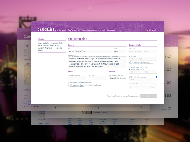 Craigslist Interface Concept by Jonas Kelstrup | Dribbble ...