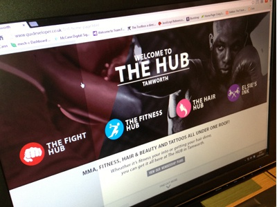 The HUB website design logo design icon design landing page