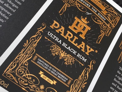 Parlay - ultra black rum Label Design gold branding logo parlay rum design label