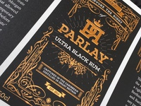 Parlay - ultra black rum Label Design