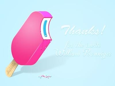 Thankyou Icecream ice cream ice lolly thankyou thanks dribbble invite