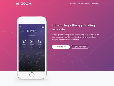 Freebie - Zoom UI Kit mobile web responsive psd landing page landing-page photoshop startup kit ui free freebie