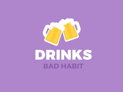 Drinks - Bad Habit glass alcohol beer multicolour fun web ui clean flat drinks
