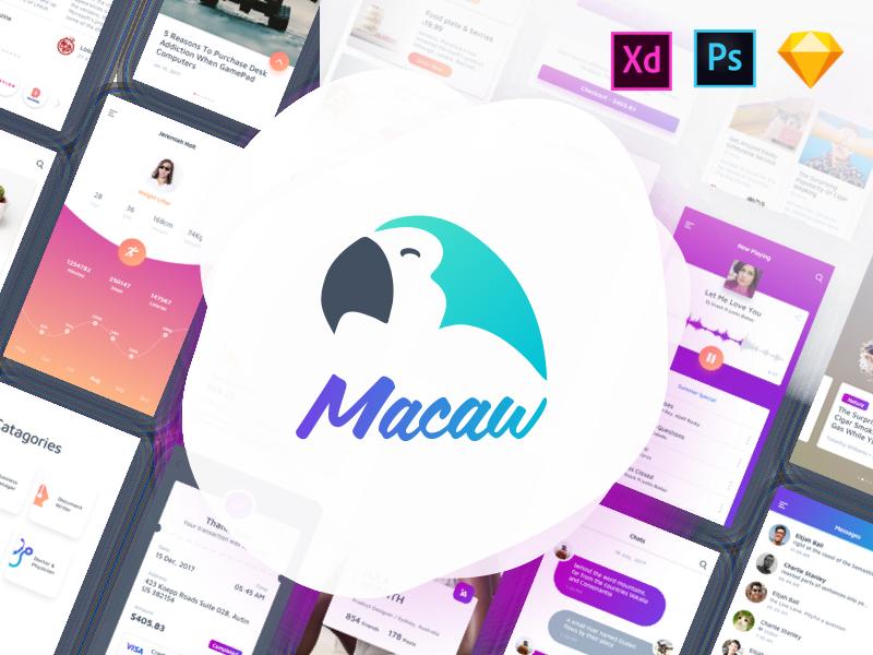 Macaw Ui Kit photoshop mobile android ios freebie xd psd ui kit