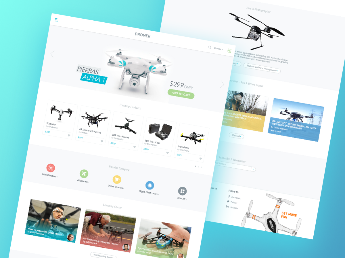 Droner - Ecommerce Website for Drones (Freebie) multicolor ux branding template iphone android ios app typography illustration mockup kit freebie free flat website psd ui web clean