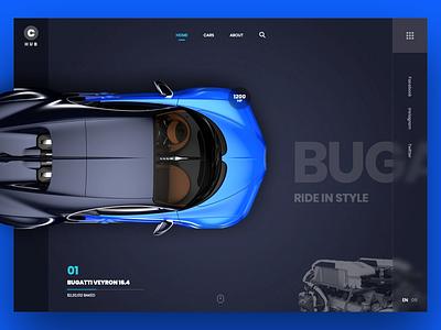 Car Hub Homepage Concept animation free creative homepage vector buy ecommetce hub bugatti car design ux template freebie mockup website flat web clean ui