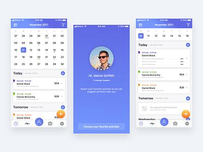 Active - Schedule Management App Concept minimal free blue branding animation vector design ux template clean flat mockup freebie iphone ipod ios app ui