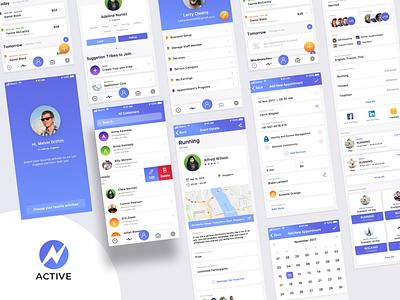 Active - Schedule Management App Concept - Shot 2 app psd minimal vector kit animation iphone sketch logo icon design ux ios illustration freebie free mockup flat clean ui