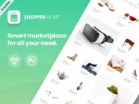 Shopper Ui Kit - Freebie ecommerce store minimal vector animation sketchapp sketch branding psd ux design template free website freebie mockup flat web clean ui