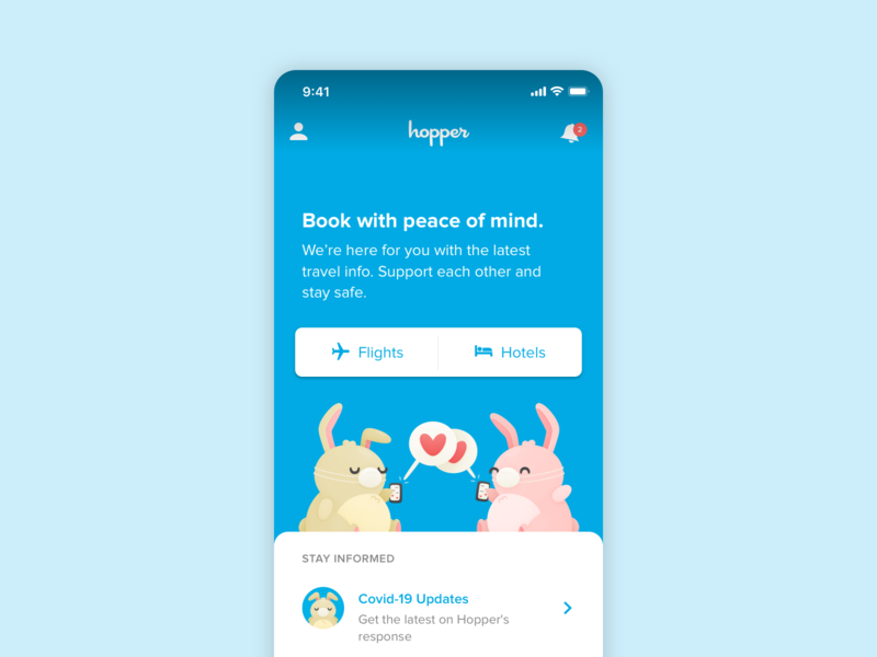 Book with peace of mind design product bunnies illustration covid-19 travel mobile ui
