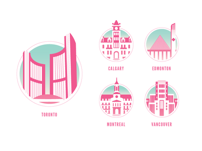 City Halls of Canada cityhall icon illustration scion city canada edmonton toronto montreal vancouver design