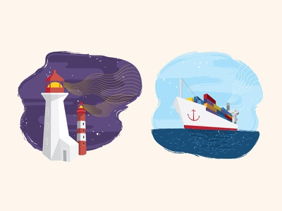 Nautical Illustrations lighthouse night ship sailing sea ocean water illustration soapbox nautical