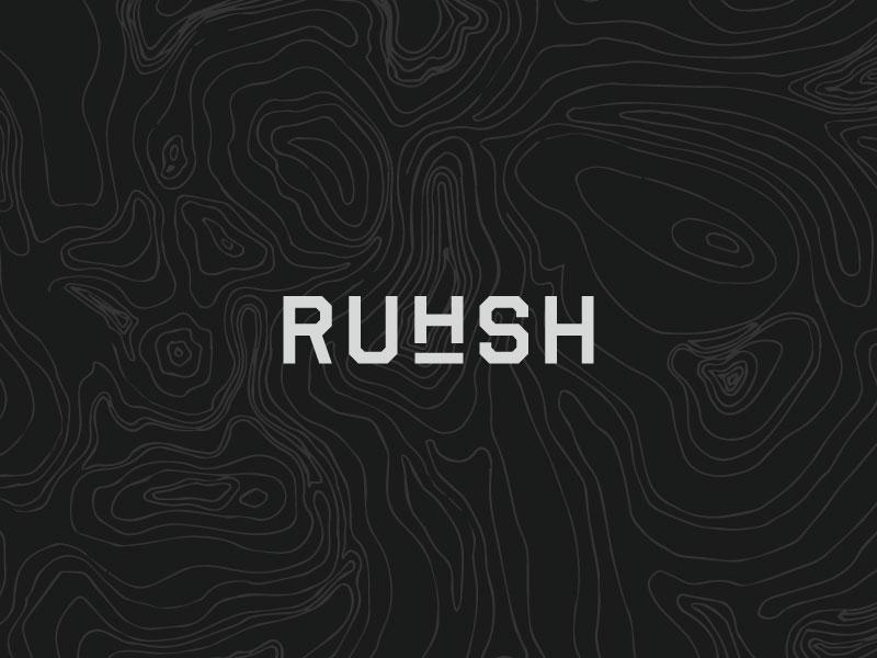 Ruhsh wordmark branding runner terrain typography logo