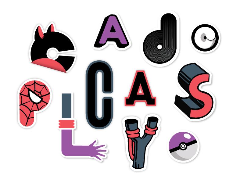 Hero Stickers typography illustration stickers superhero