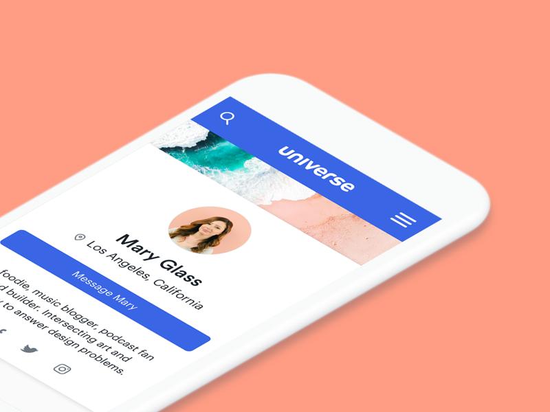 Universe Profile Page ux beach design universe profile product ui mobile
