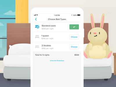 Bed Types bunny icons beds hotels travel ios mobile product ux ui design