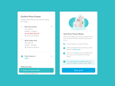 Price Freeze deals price freeze bunny newfeature mobile travel ui product design illustration