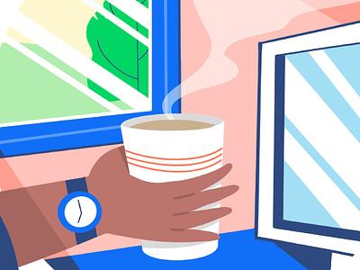 Hot Coffee ui web icon vector minimal illustration flat design branding