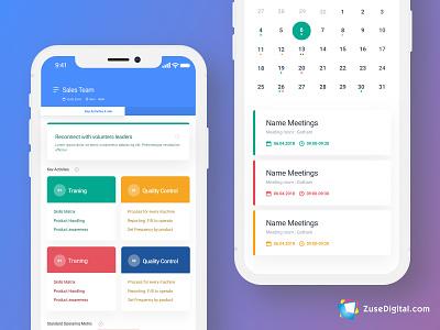xGap SaaS Meeting Dashboard Mobile App android ios great ui calender meeting tasks notifications timer colors sketch dashboard mobile mobile app uidesign ui dashboard saas