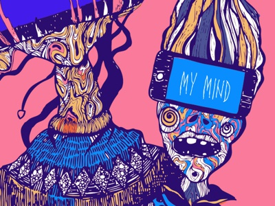 "illustration project ""Read my mind"" gadget pink lines artwork monster illusrtation readmymind lyrics ipad iphone drawing color handdrawing"
