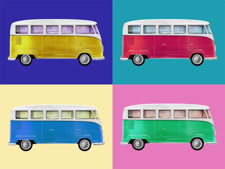 VW Bus photoshop 3d illustration 3d illustration